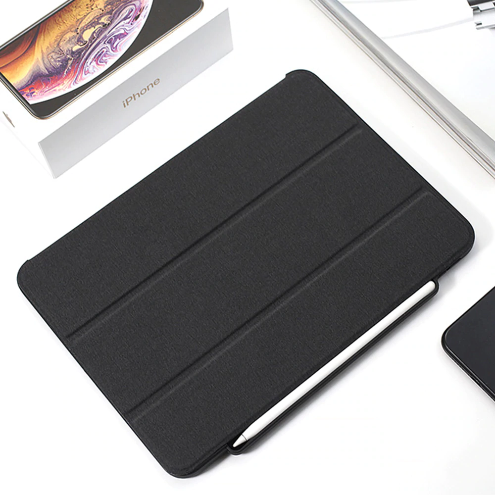 For iPad Pro 12.9 2018 Case Pencil Holder Cloth Leather Microfiber Inner Smart Cover