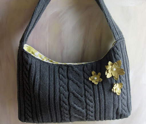 Sweater Purse Re-purposed from Old Sweater - Touch of Sunshine on a Grey Day