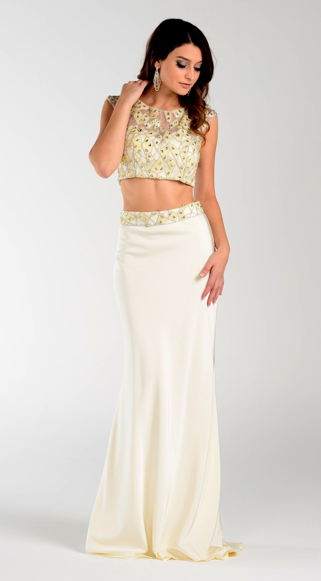7422 two piece ivory prom dress For pricing, size and color ...