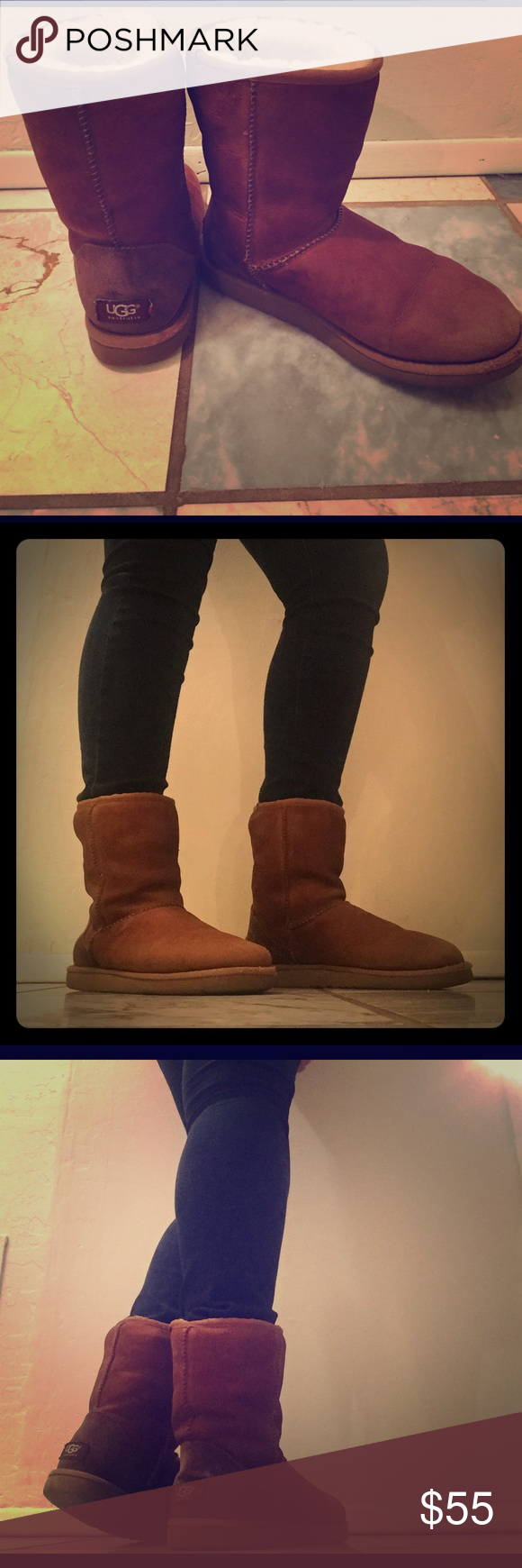 Chestnut brown ugg boots Short chestnut brown ugg boots. They are real uggs. Size 7 but I'm a size 8 and they fit me. In very good condition. No holes, smells, no crazy stains. Deff worn but still has a lot of life in them. Also so warm and comfortable! UGG Shoes Winter & Rain Boots