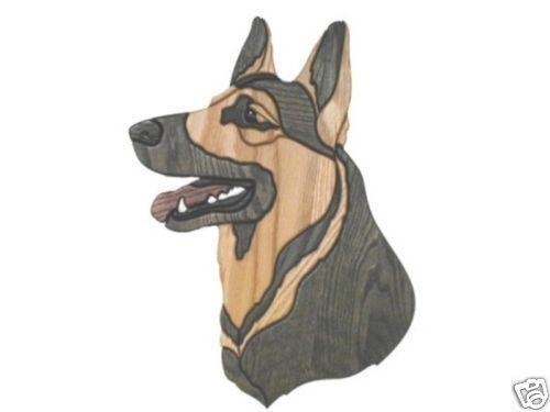 GERMAN-SHEPHERD-DOG-INTARSIA-WOOD-CARVING-WALL-HANGING selling for $98