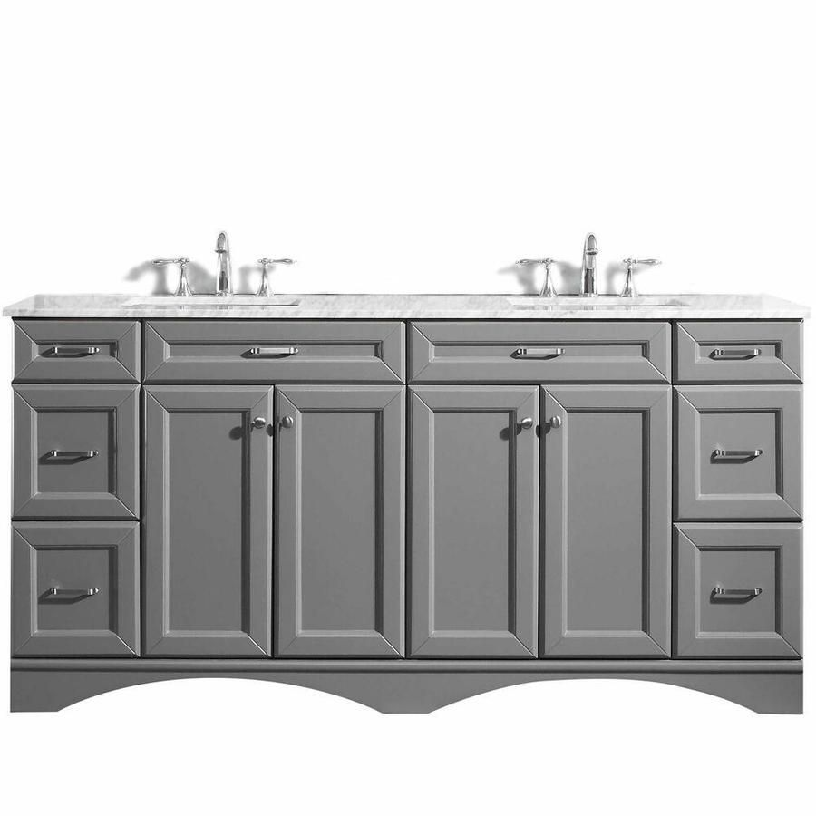 Vinnova Naples 72 In Grey Undermount Double Sink Bathroom Vanity With White Marble Top Lowes Com In 2021 Marble Vanity Tops White Marble Countertops Double Sink Bathroom Vanity [ 900 x 900 Pixel ]