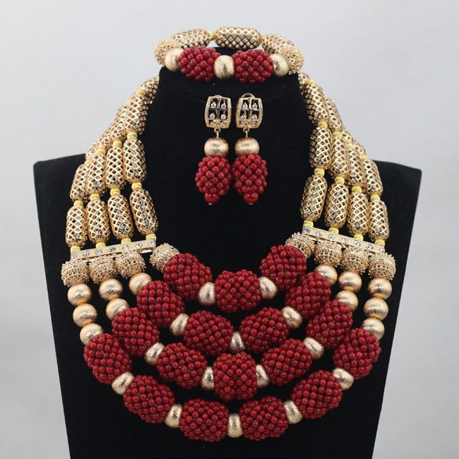 Fabulous 4 Steps Wine Red Coral African Beads Jewelry Set 18k Gold