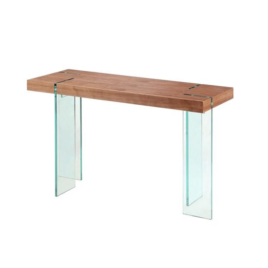 Newark Wooden Console Table With Bent Glass Legs