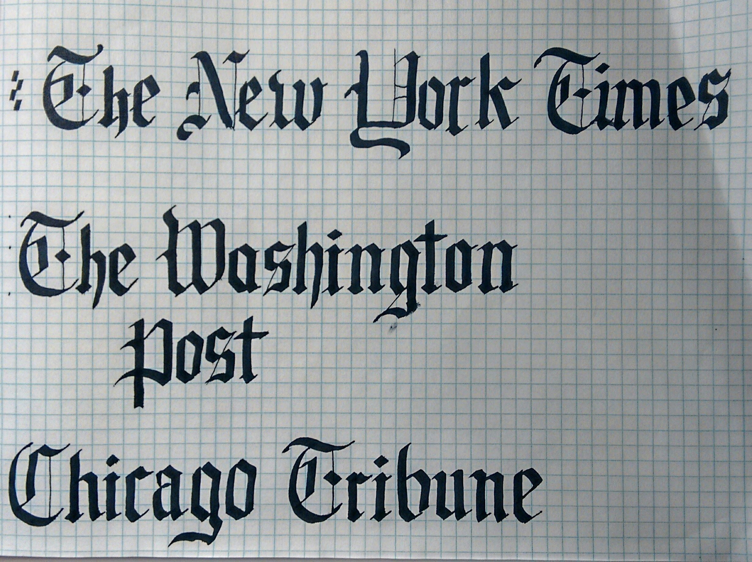 Gothic style calligraphy practice the new york times