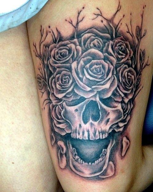 my skull roses thigh tattoo