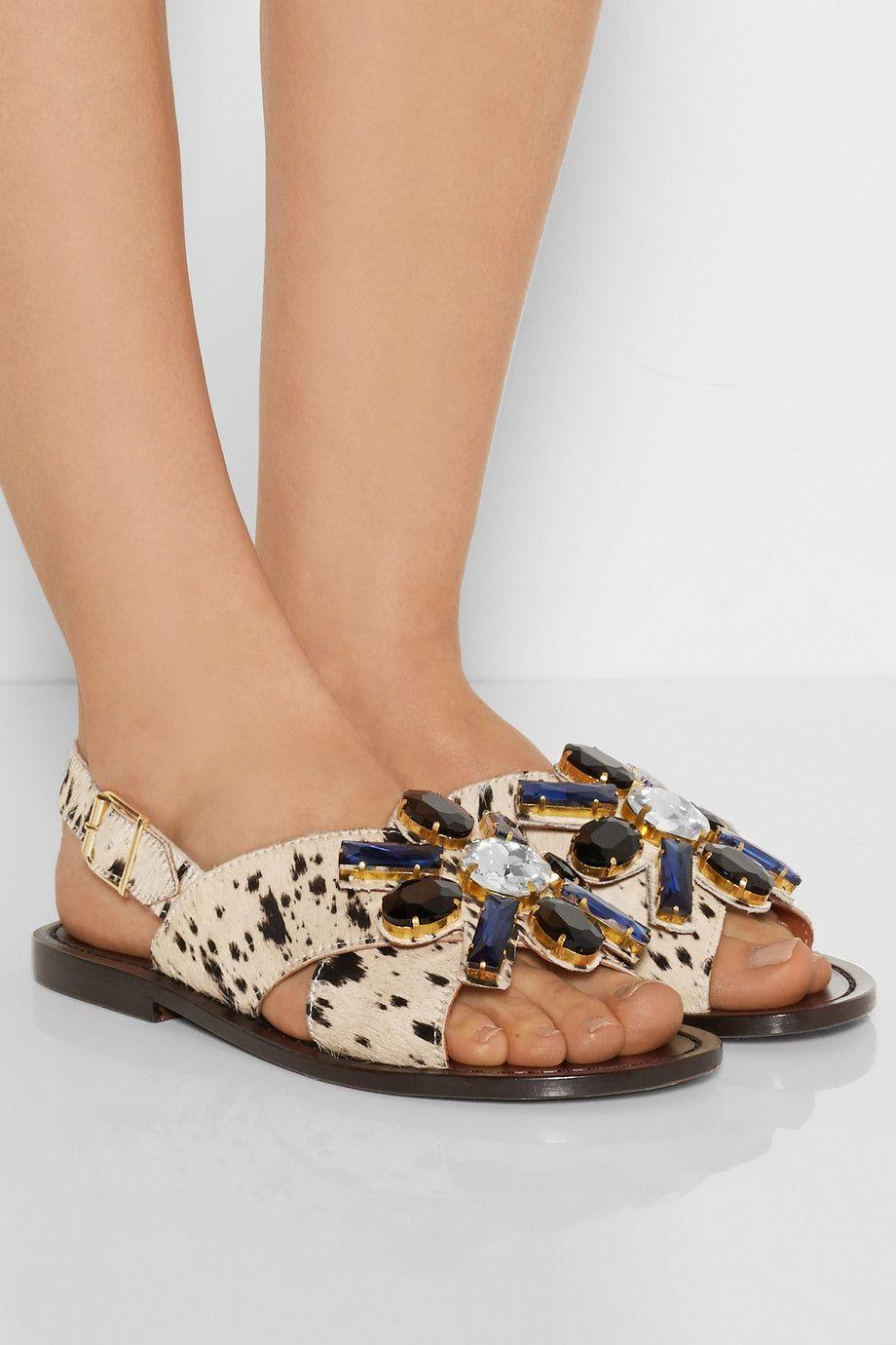 Marni - Crystal-embellished printed calf hair sandals