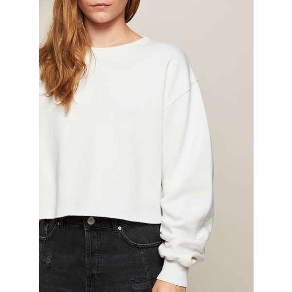 950e1c8d4c5 Miss Selfridge White Ruched Sleeve Crop Sweatshirt (€41) ❤ liked on Polyvore  featuring tops, hoodies, sweatshirts, winter white, crewneck sweatshirt,  white ...