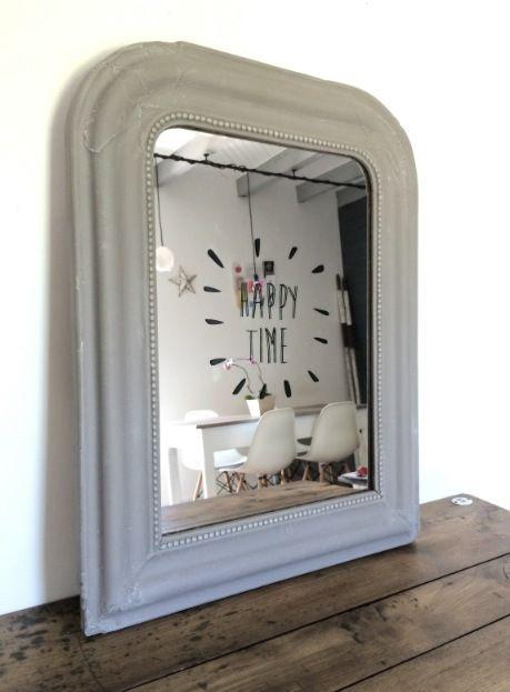 """Miroir Louis Philippe69 cm x 64 cmPatine gris blanchiSticker home-madeContour du miroir perléMode d'expédition par défaut """"AVEC Assurance"""""""