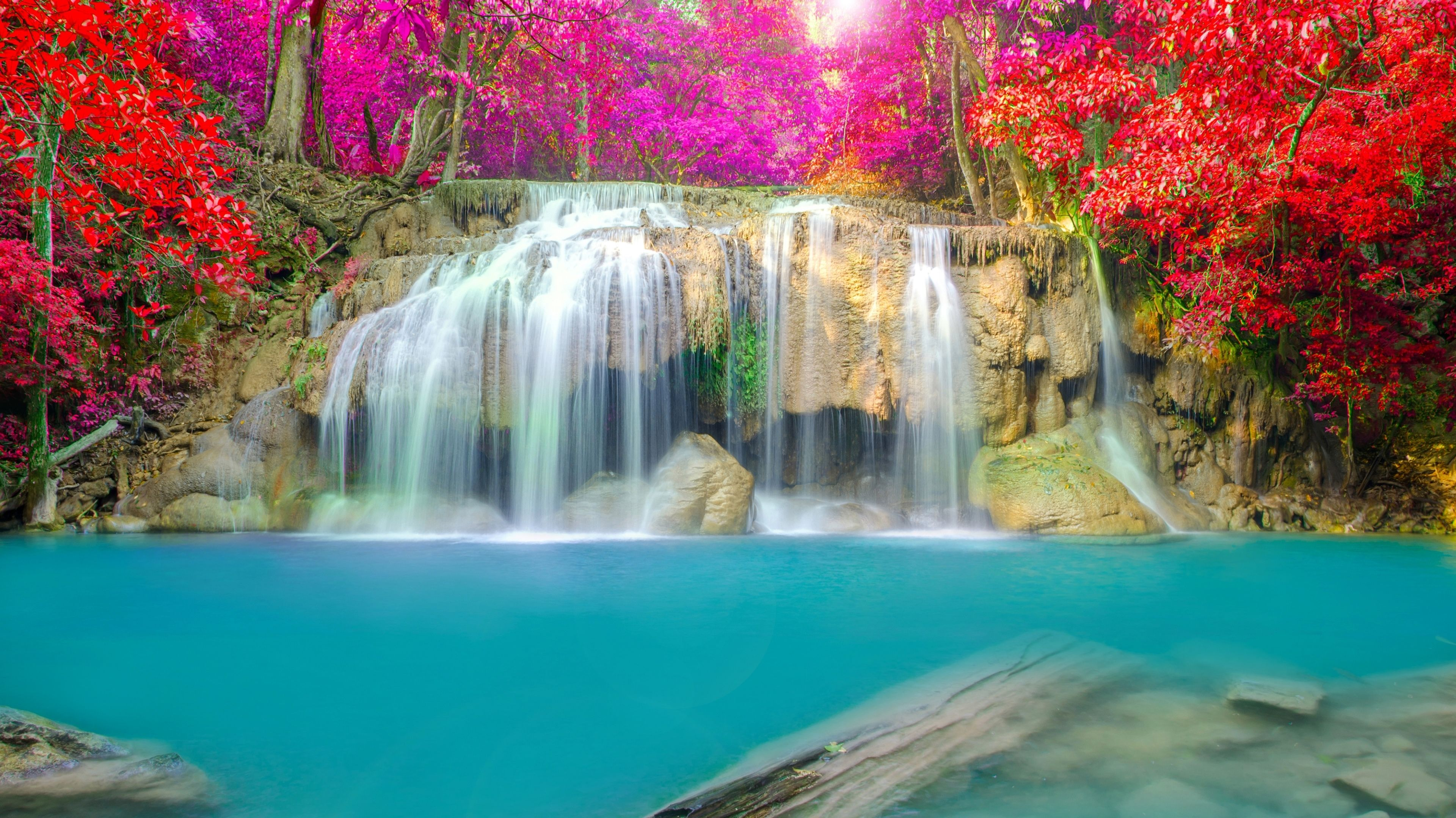 Waterfall Thailand Erawan Falls Erawan National Park 4k Waterfall Wallpaper Waterfall Scenery Landscape Wallpaper