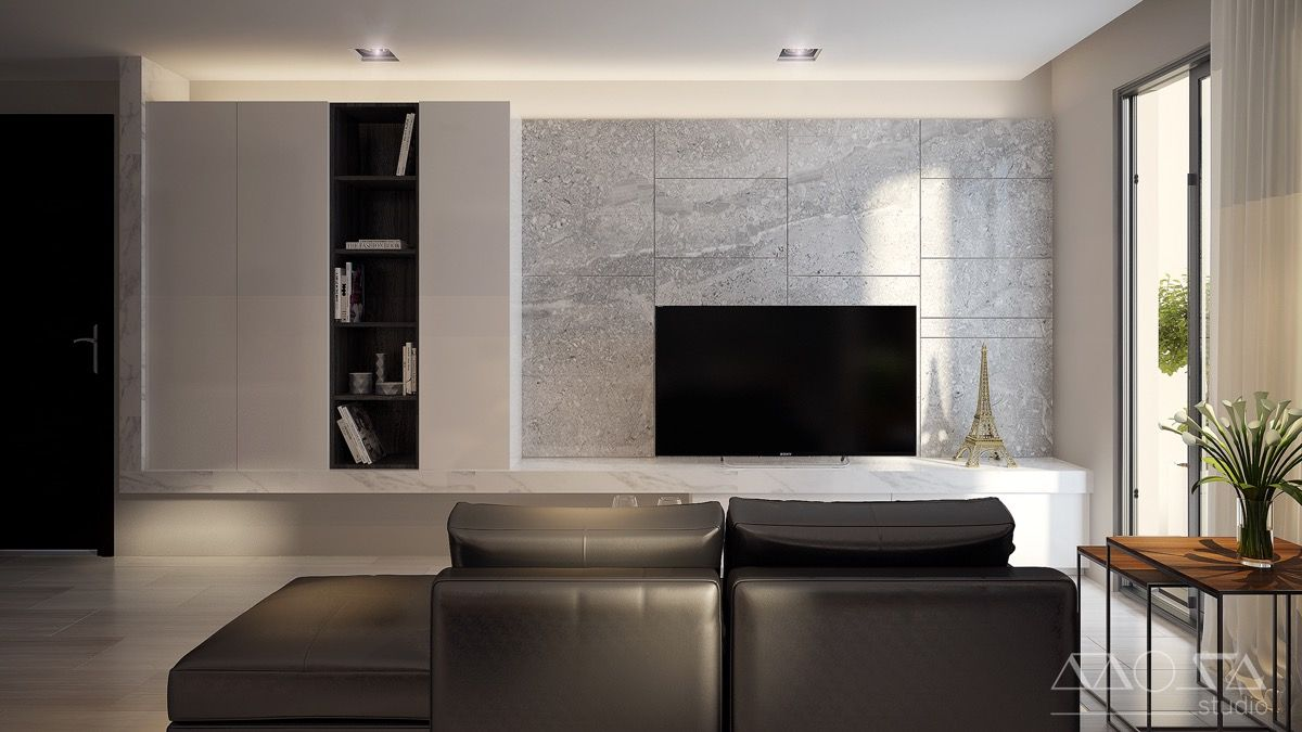stylish living room tv stand unit modern design with luxury   3 Modern Studio Apartments With Glass-Walled Bedrooms ...