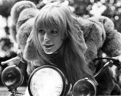 Marianne Faithfull during filming of 'Girl on a Motorcycle'