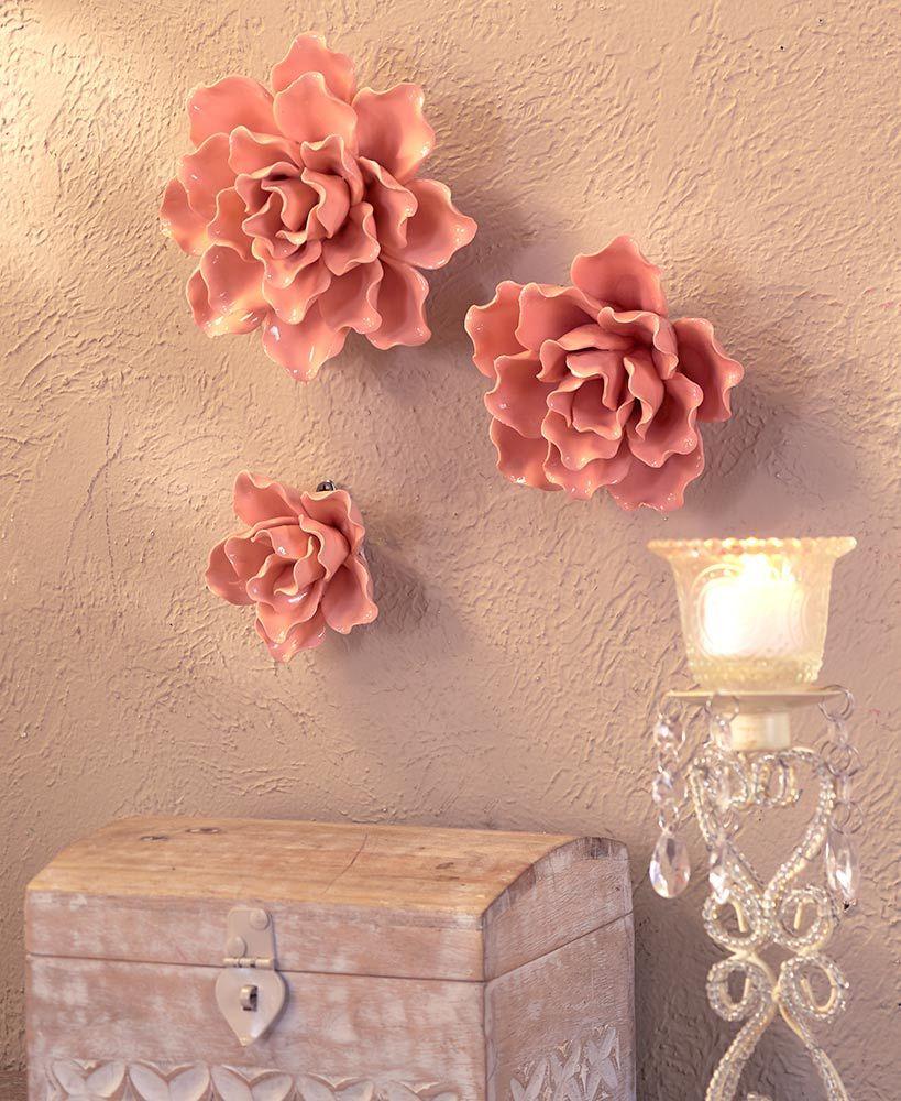 Ceramic Flower Wall Decor Flower Wall Decor Wall Decor Chevron Wall Decor