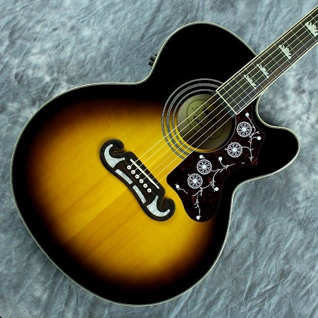 Epiphone Ej 200ce Vintage Sunburst Reverb Epiphone Gibson Acoustic Sunburst