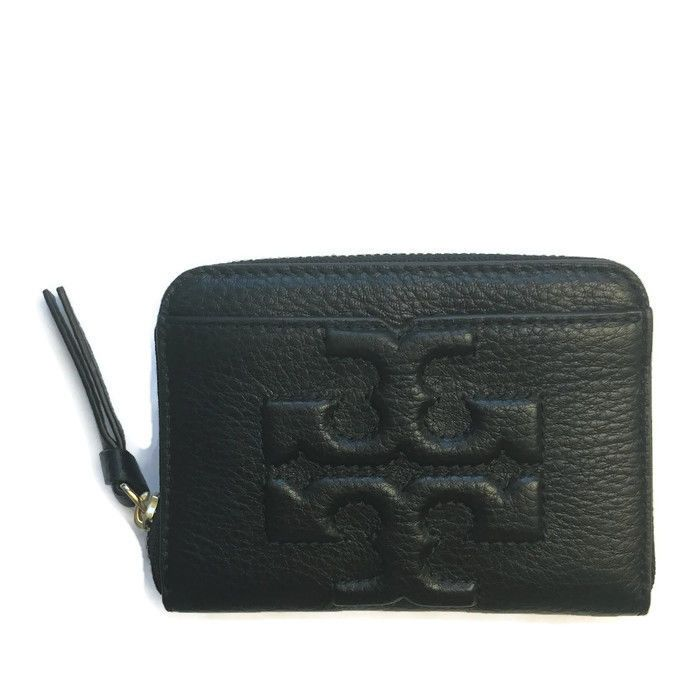 550f22946470 TORY BURCH Bombe-T Coin Case ~ Black Leather Mini Wallet NWT  ToryBurch