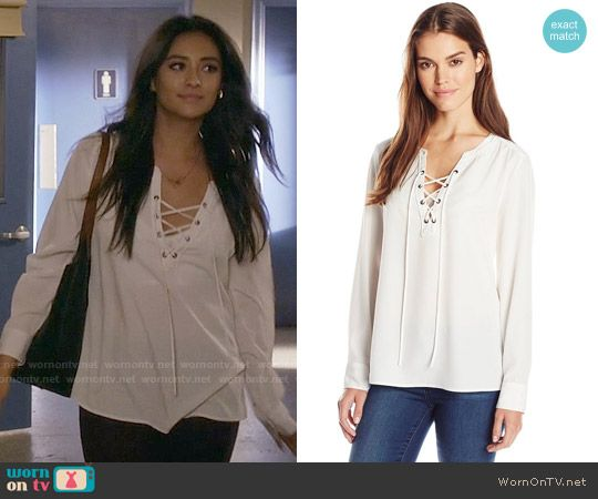 aa27acd7d714e Emily s white lace-up top on Pretty Little Liars. Outfit Details…