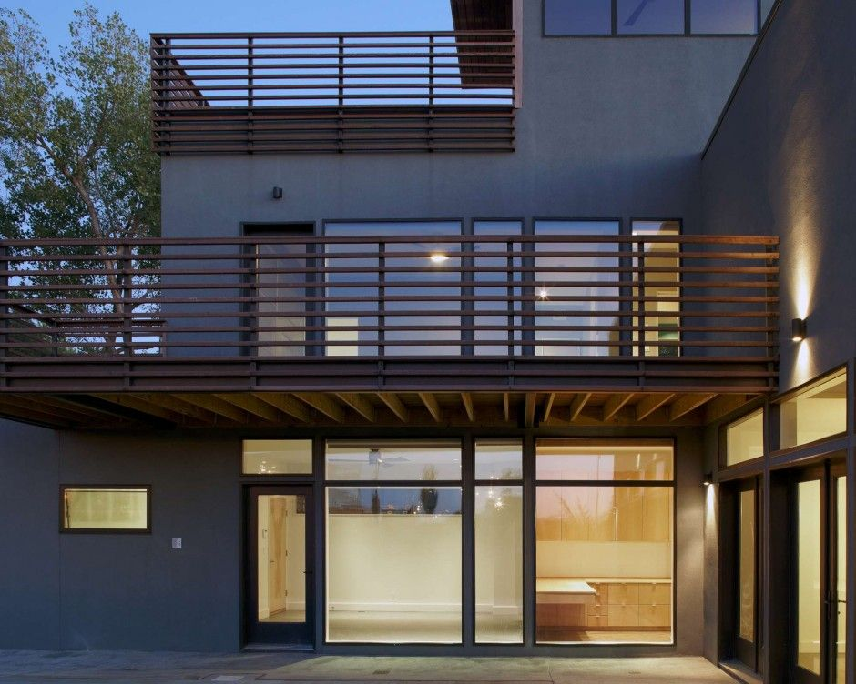 Modern Exterior Design With Kalwall Panels And Exciting Deck Railing Plus Frosted Glass Wall
