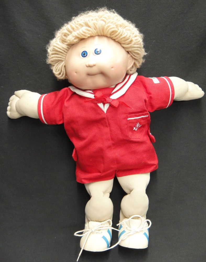 Vintage 1986 Cabbage Patch Boy Doll Xavier Roberts Coleco Sailor Suit Shoes Boy Doll Xavier Roberts Suit Shoes