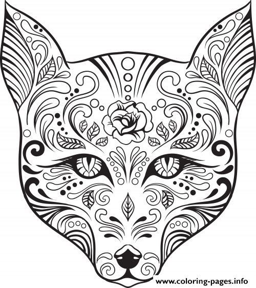 Print advanced cat sugar skull coloring pages Five Nights at