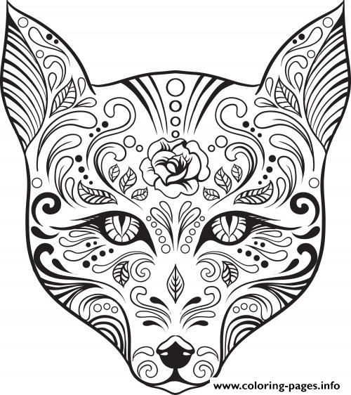 Print advanced cat sugar skull coloring pages | Cats | Pinterest ...