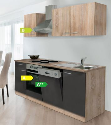 Respekta Küchenzeile KB220ESGOES 220 cm Grau-Eiche Sägerau - küchenzeile 220 cm mit elektrogeräten