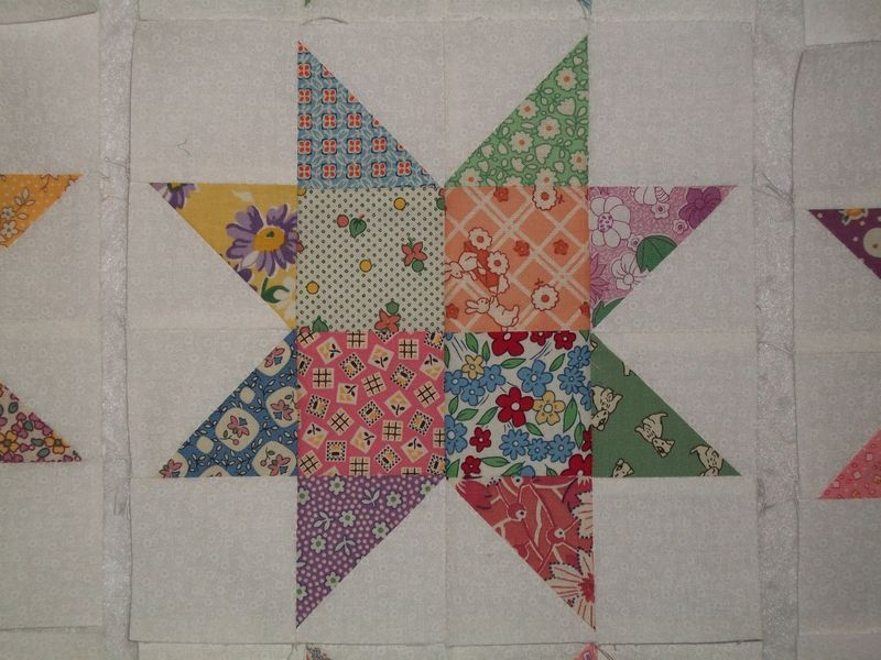12 Aunt Grace 1930s Reproduction Sawtooth Scrappy Star Quilt ... : 12 inch quilt blocks - Adamdwight.com