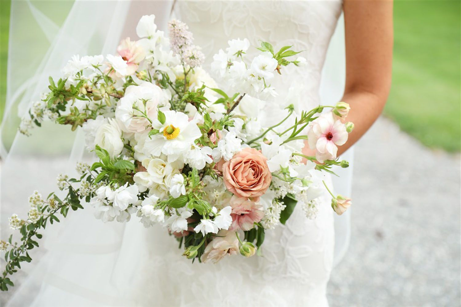 Spring Bridal Bouquet White And Peach Planning Riley Loves Lulu