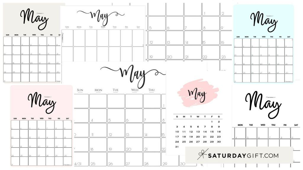 Cute (& Free!) Printable May 2021 Calendar | SaturdayGift ...