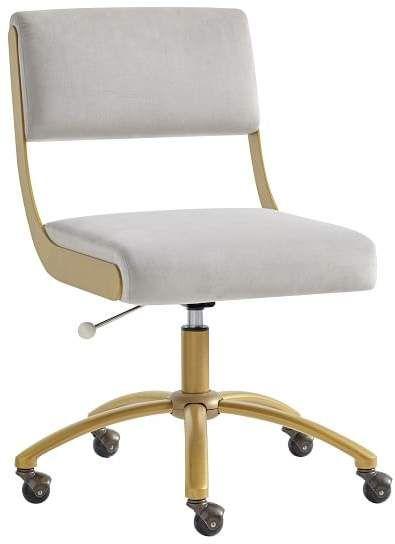 Outstanding Velvet Gray Boomerang Desk Chair Desk Chair Brown Leather Ibusinesslaw Wood Chair Design Ideas Ibusinesslaworg