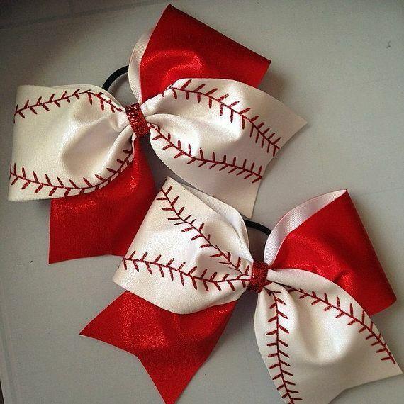 baseball bows cheerleading hair