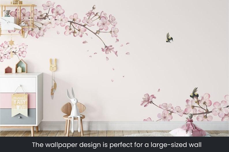 Nursery Wallpaper Japanese Cherry Blossom Fleece Wallpaper Etsy In 2021 Nursery Wallpaper Japanese Cherry Japanese Cherry Blossom