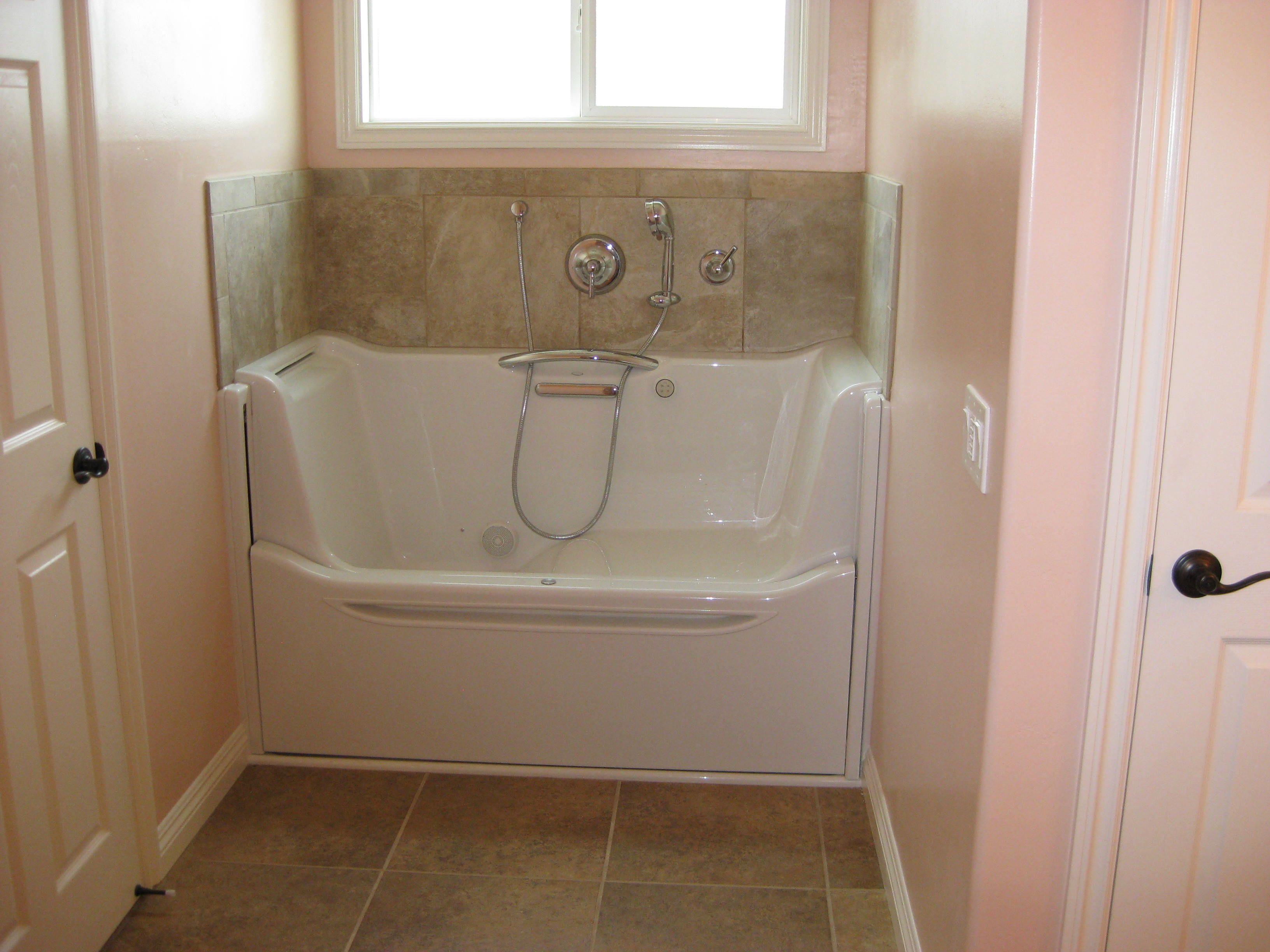 here is an elevance walk in tub by kohler freshly installed in elegant