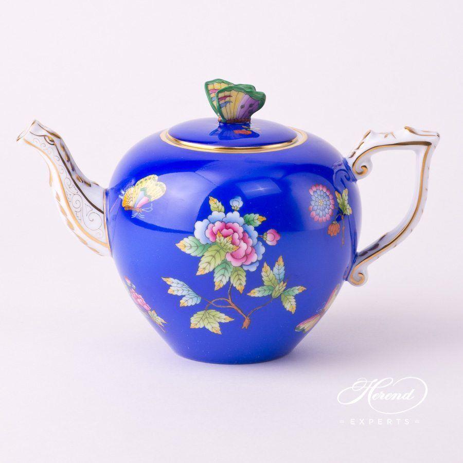 Tea Pot - Queen Victoria on Blue Background | Herend Experts #teapots