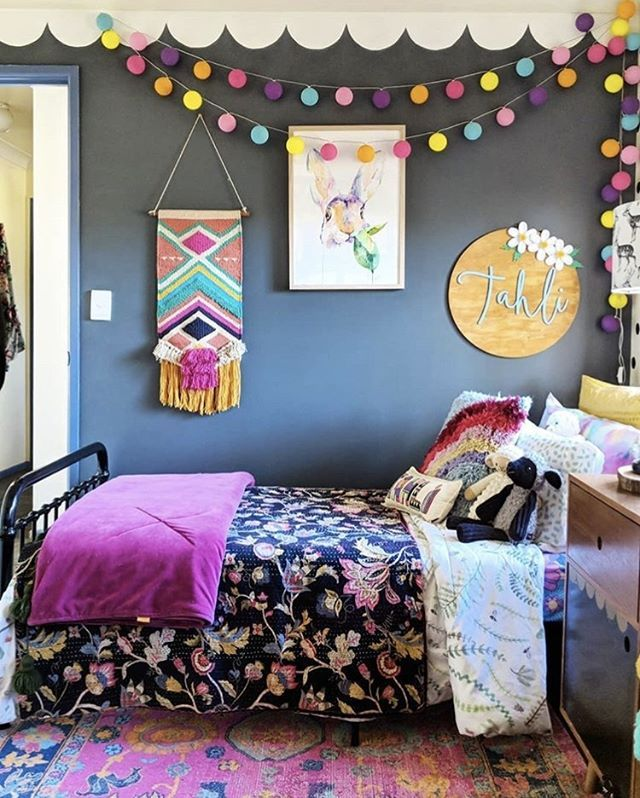 The bright colours in the is fun toddler room back it such a gorgeous space to spend time in @the.hectic.eclectic #toddlerrooms