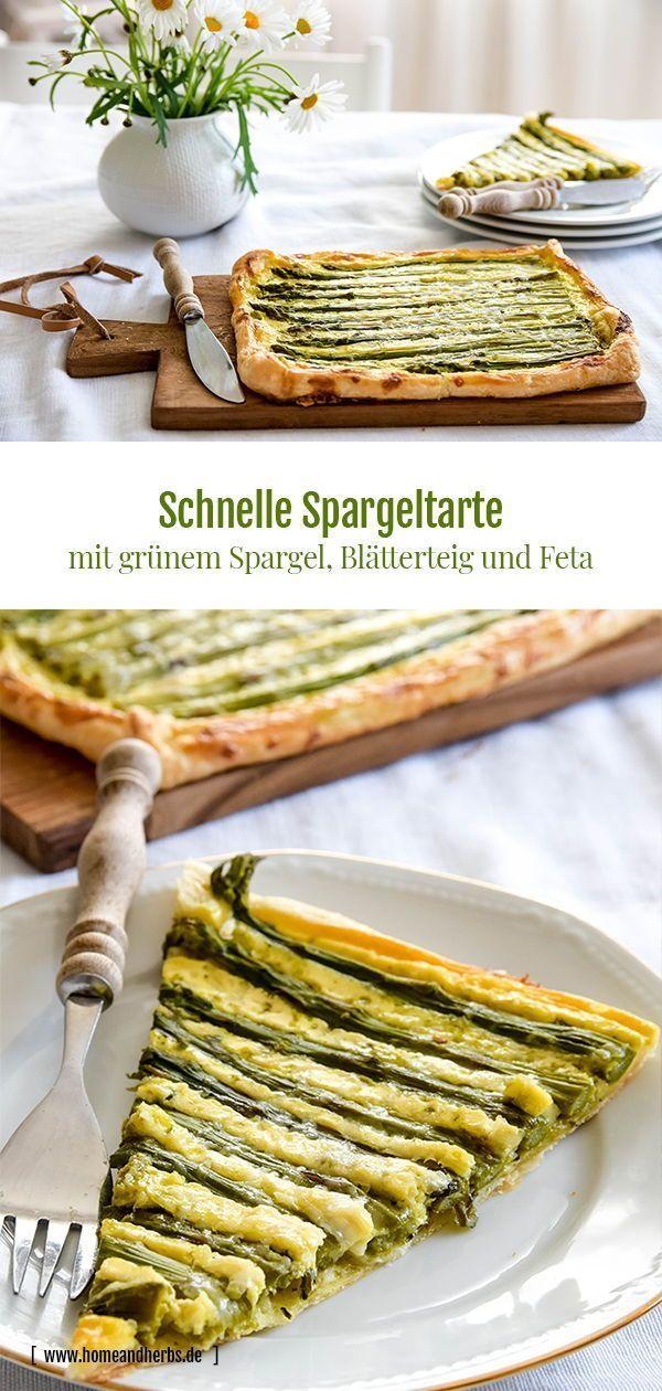Schnelle Spargeltartes vom Blech mit Blätterteig und Feta #vegetarischerezepteschnell