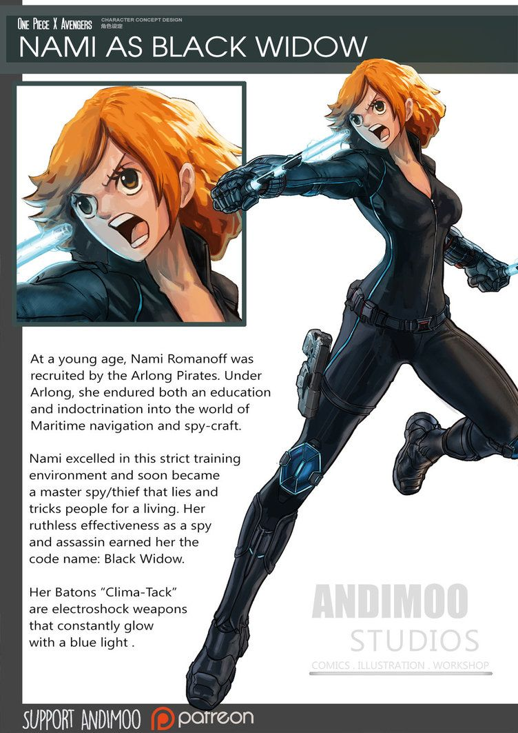 One Piece Avenger Nami as Black Widow by AndiMoo on DeviantArt ... bf533490d3b