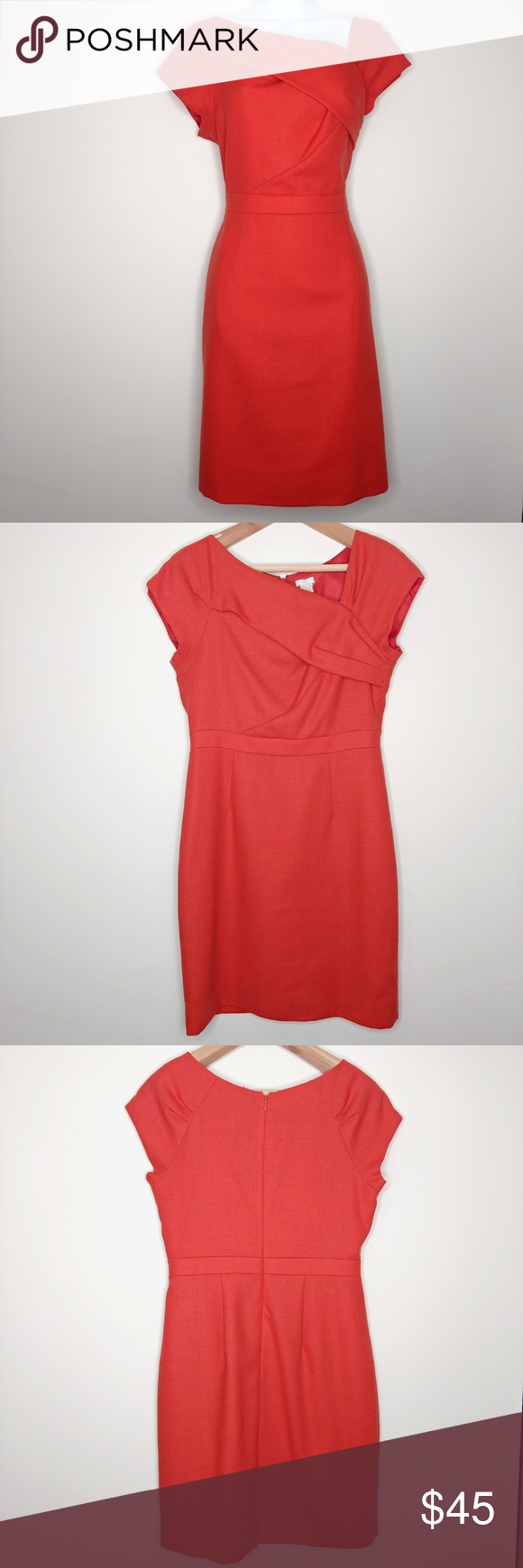J Crew Origami Sheath Dress Red Crepe Size 8 Sheath Dress Red Dress Clothes Design
