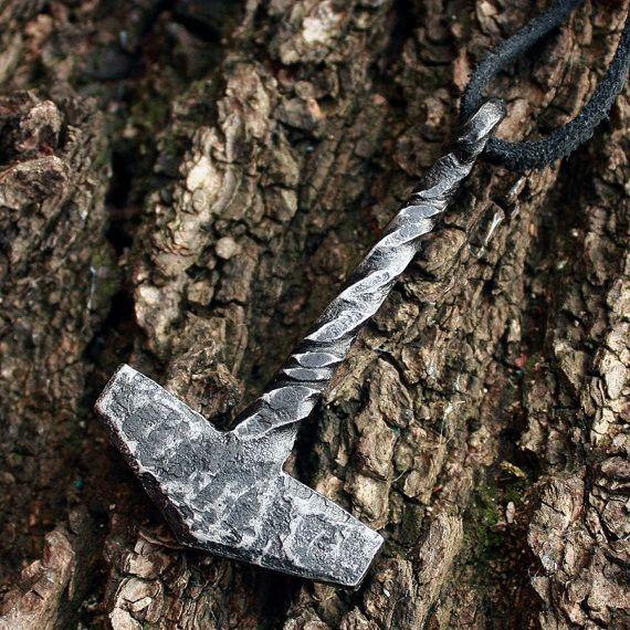 Forged Iron Handmade Vikings Thor Hammer Tool Pendant Necklace