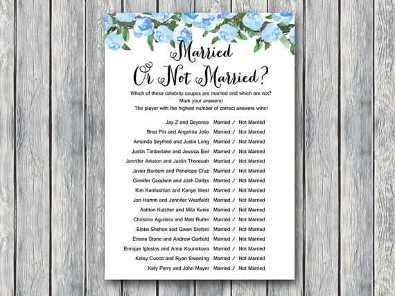 blue married or not married game celebrity couple game bridal shower game bridal shower activity