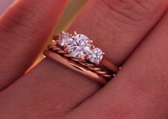 Jewel Of The Week Three Stone Diamond Ring Reset In Rose Gold