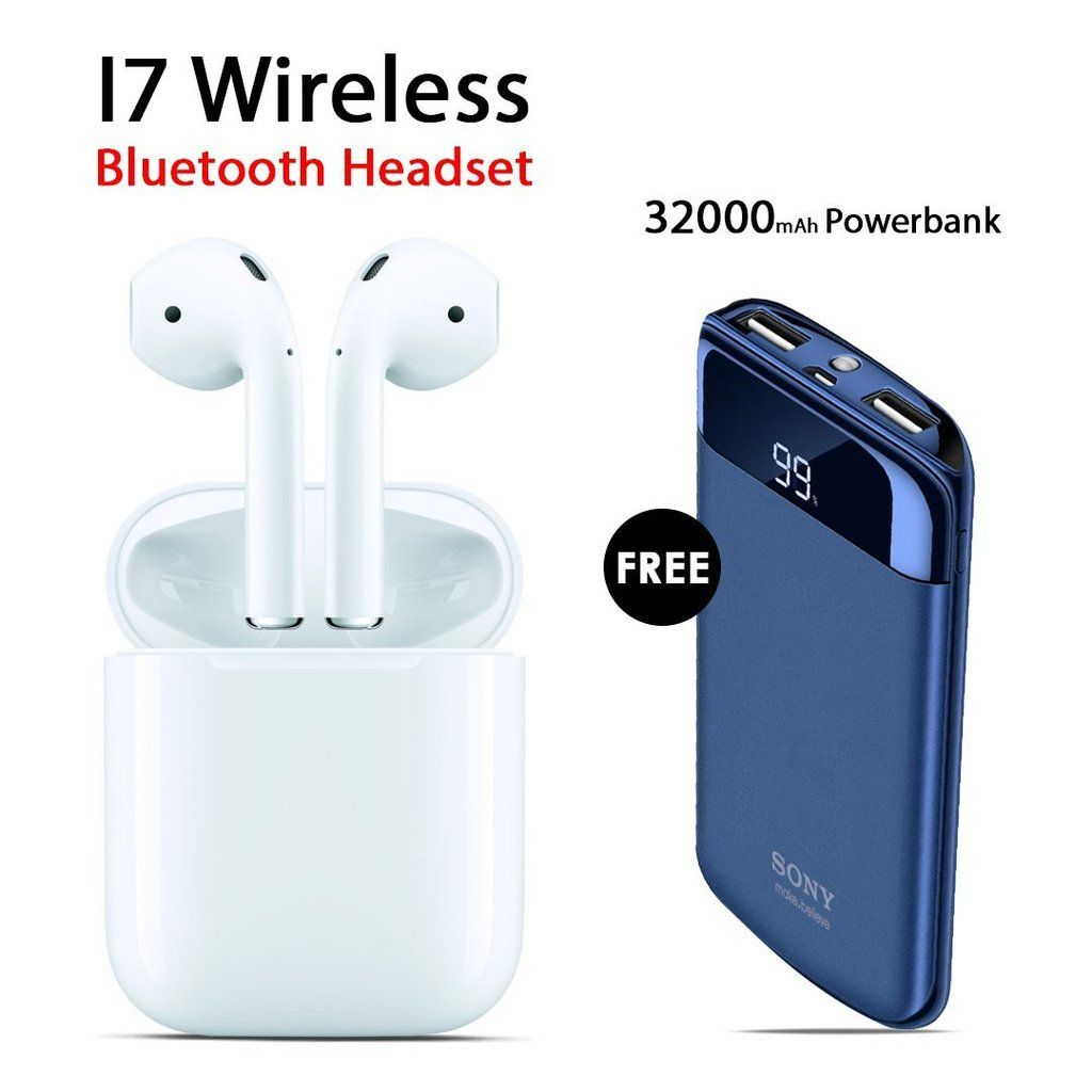 Buy I7 Wireless Bluetooth Headset With Free Sony 32000mah Power Bank Bluetooth Headset Wireless Bluetooth Headset