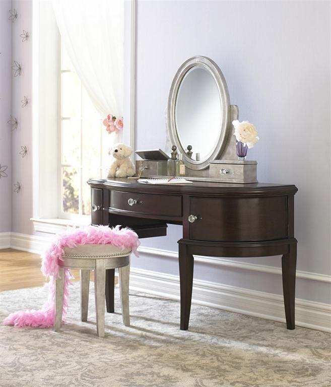 Samuel Lawrence Furniture Girls Glam Desk Vanity With Stool In