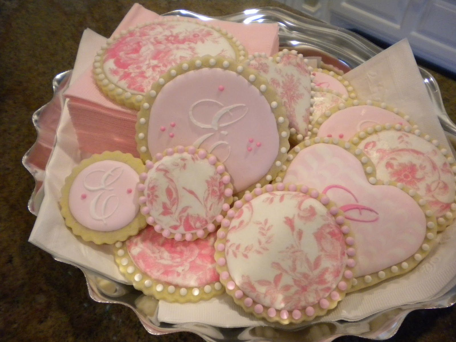 DIY Pink Toile Cookies. Absolutely Gorgeous!!