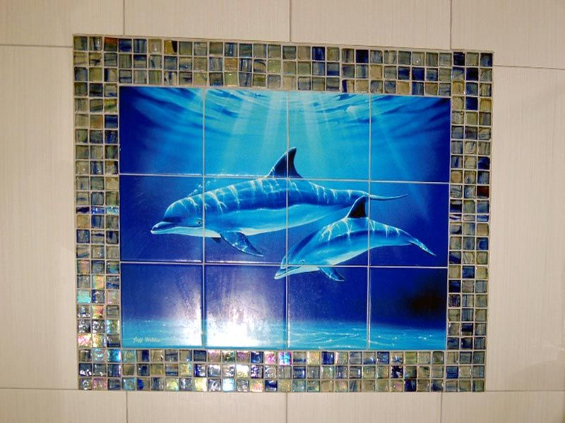 Dolphin And Whale Art Dolphin Dive Tile Mural Tile Murals Whale Bathroom Tile Bathroom