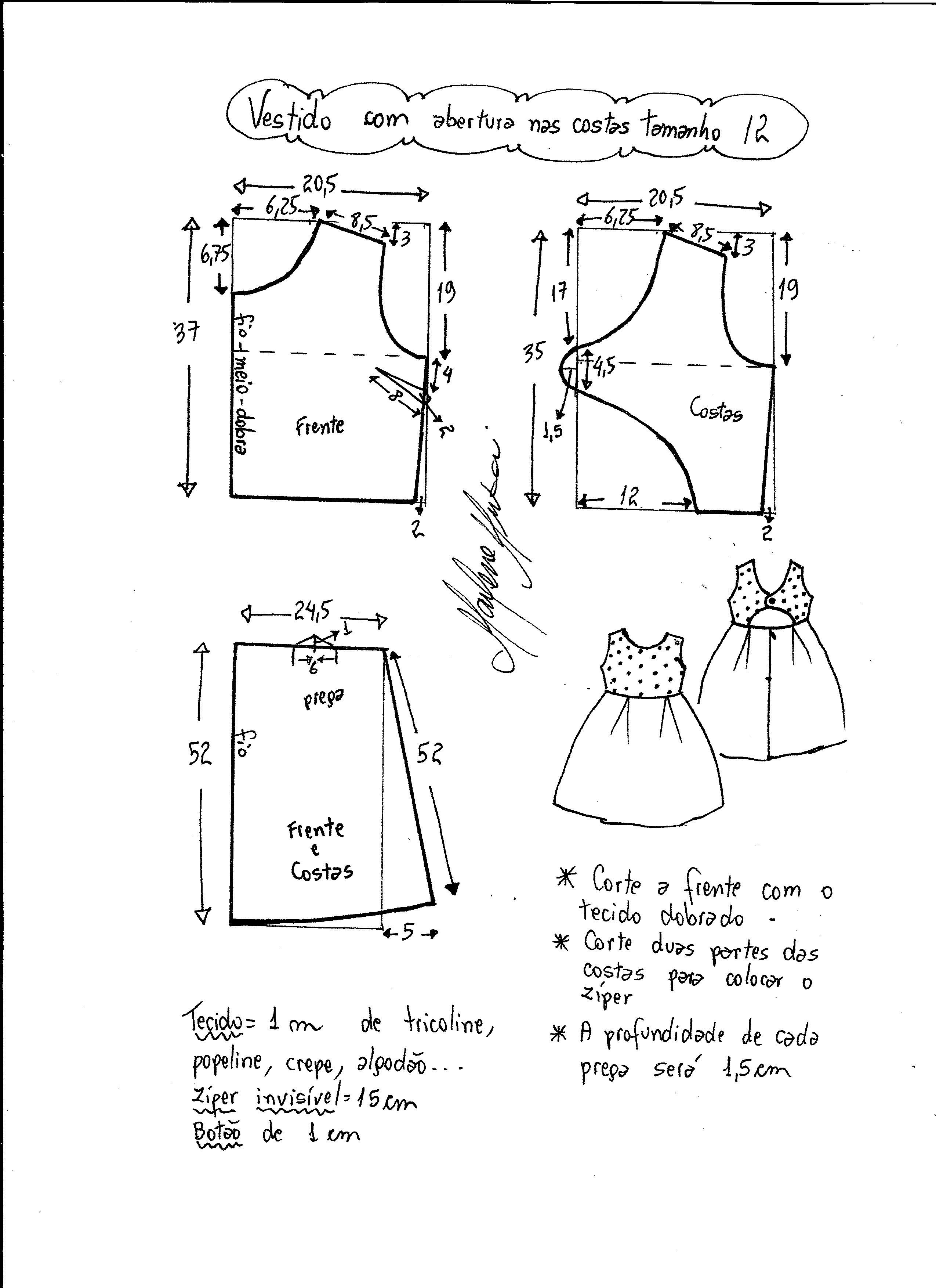 75586bdf8dcd90 Esquema de modelagem de vestido com abertura nas costas tamanho 12 ...