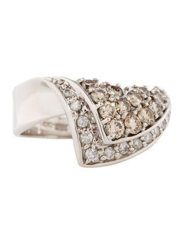 1.46ctw Champagne Diamond Wave Ring