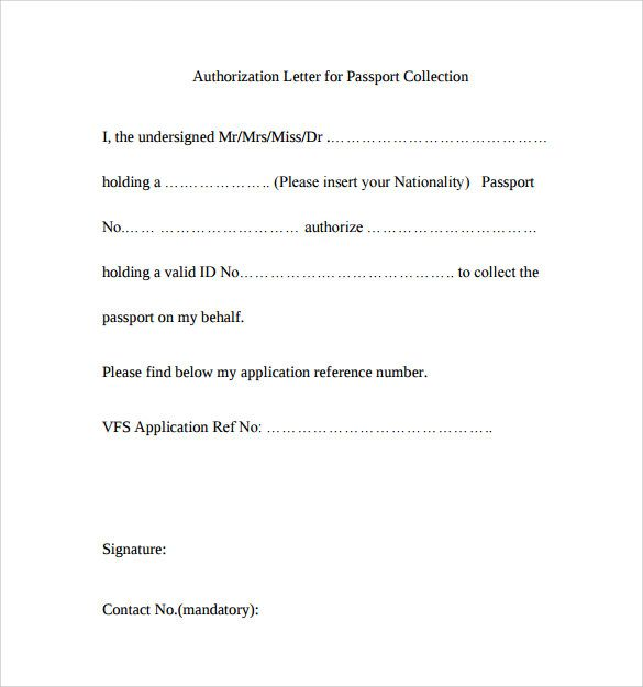 sample passport authorization letter free documents pdf word - Letter Of Authorization Form