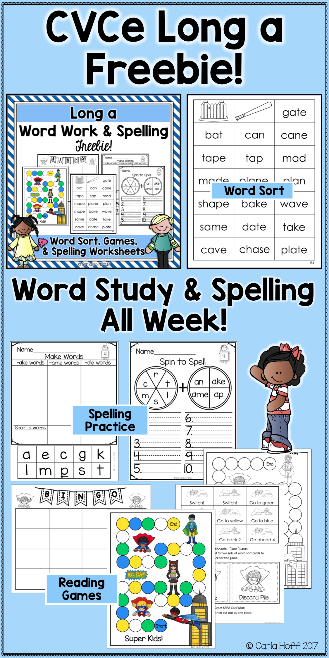 Enjoy a week of CVCe work work, spelling activities, and worksheets ...
