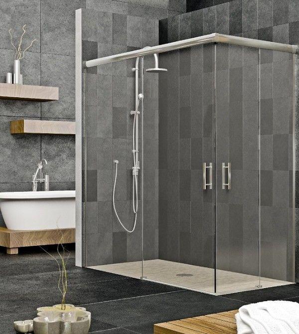 Mampara de ducha de dise o cristal templado y perfiles - Mamparas de ducha de diseno ...