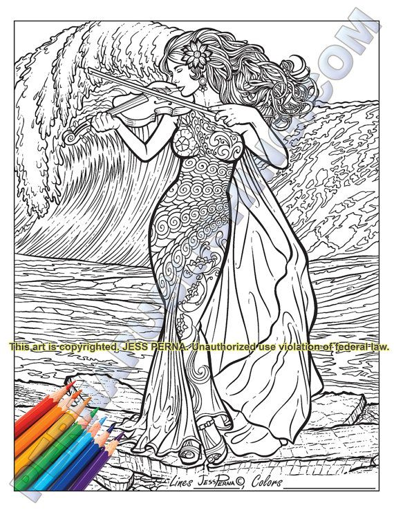 5 Printable Adult Coloring Pages, Woman Violinist, Little Flower ...